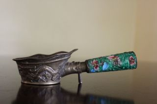 Vintage Chinese Brass Silk Iron W Dragon Motief And Floral Enamel Handle photo