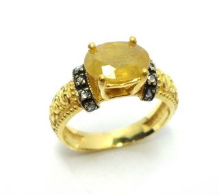 Rose Cut Diamond & Yellow Sapphire Gold Plated Vintage Look Jewelry Ring Size 7 photo