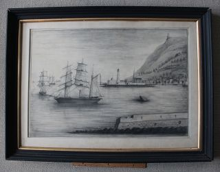 Large Framed Signed Antique Harbor Scene/ships/lighthouse/church/mid 1800s photo