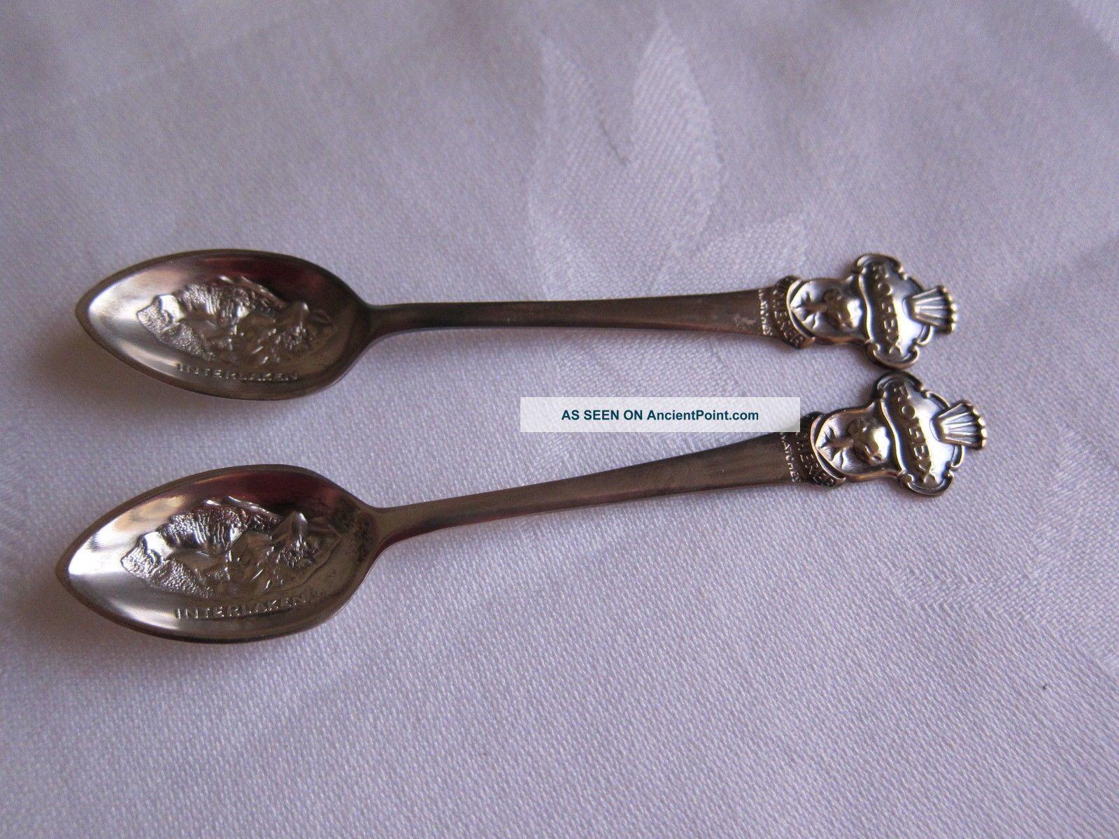 Vintage Rolex Bucherer Interlaken Silverplated Gift Demi Tasse Spoons Souvenir Spoons photo