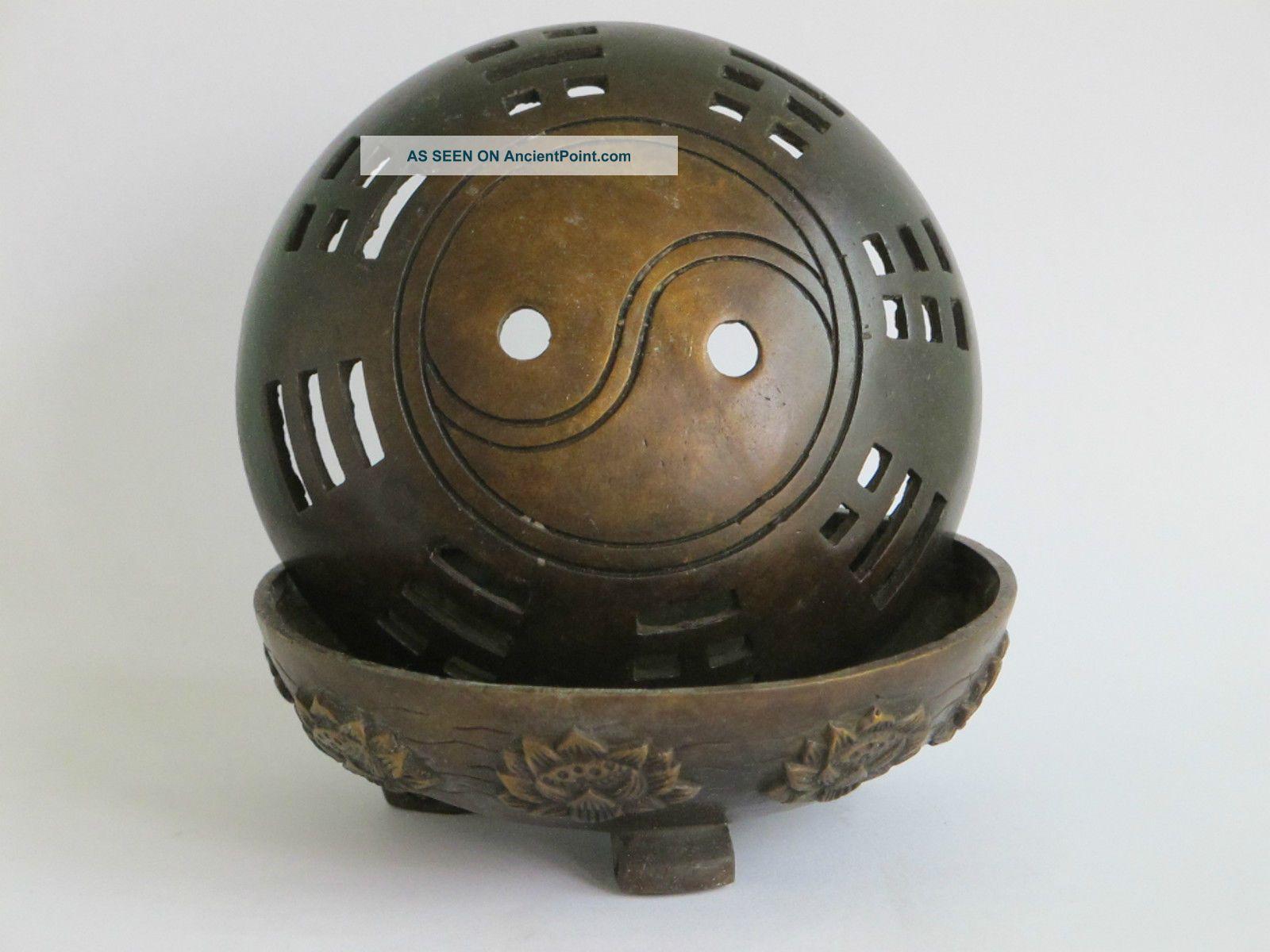 China Folk Red Bronze Tai Chi Eight Trigram Lotus Flower Censer Incense Burner Reproductions photo