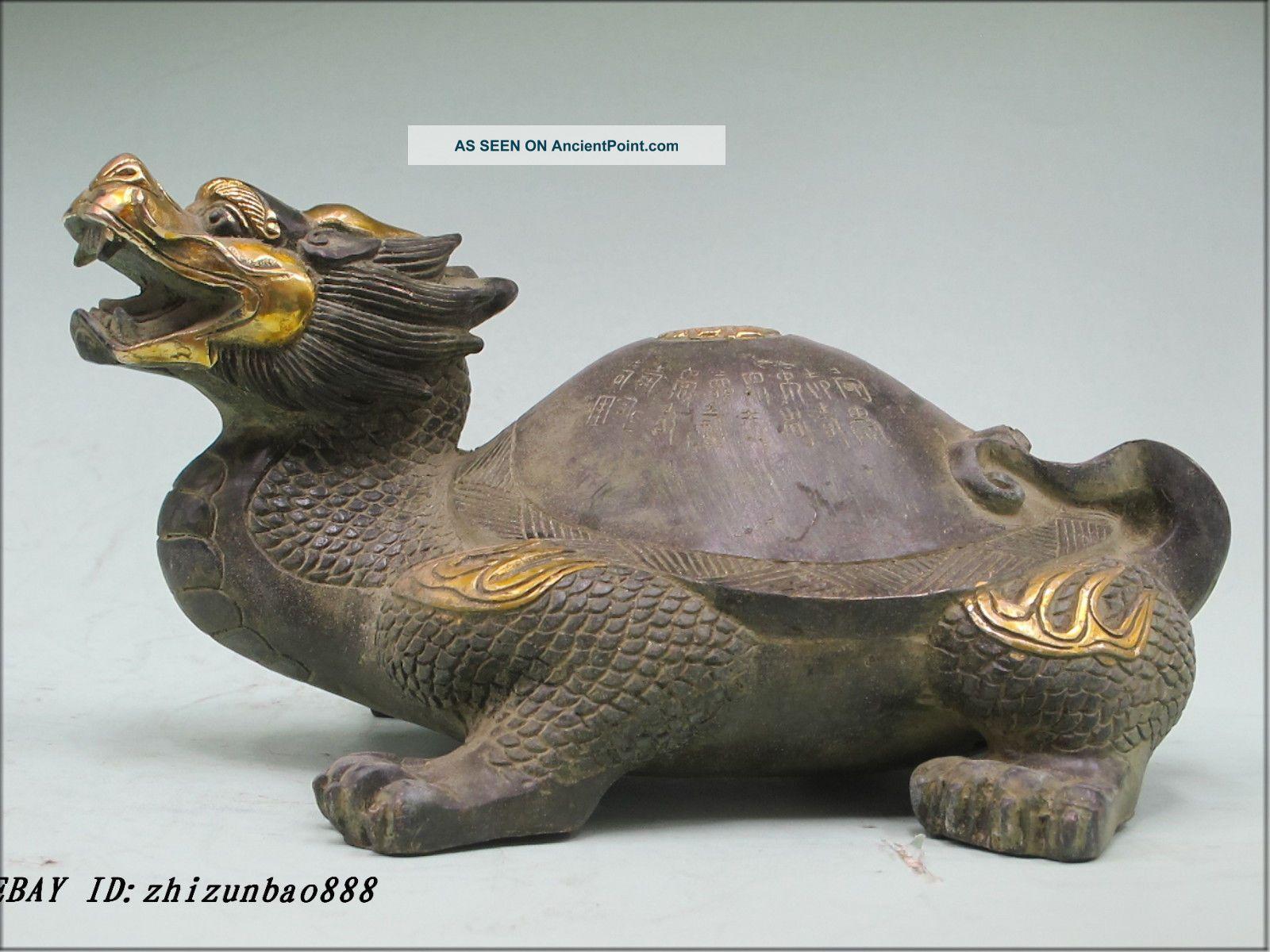 Luck Handwork Bronze Tai Chi Money Dragon Tortoise Tai Ji Statue Reproductions photo