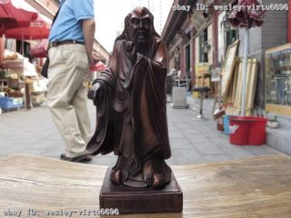 9 Chinese Pure Red Bronze Standing Great Philosopher Founder Taoism Laozi Statue photo