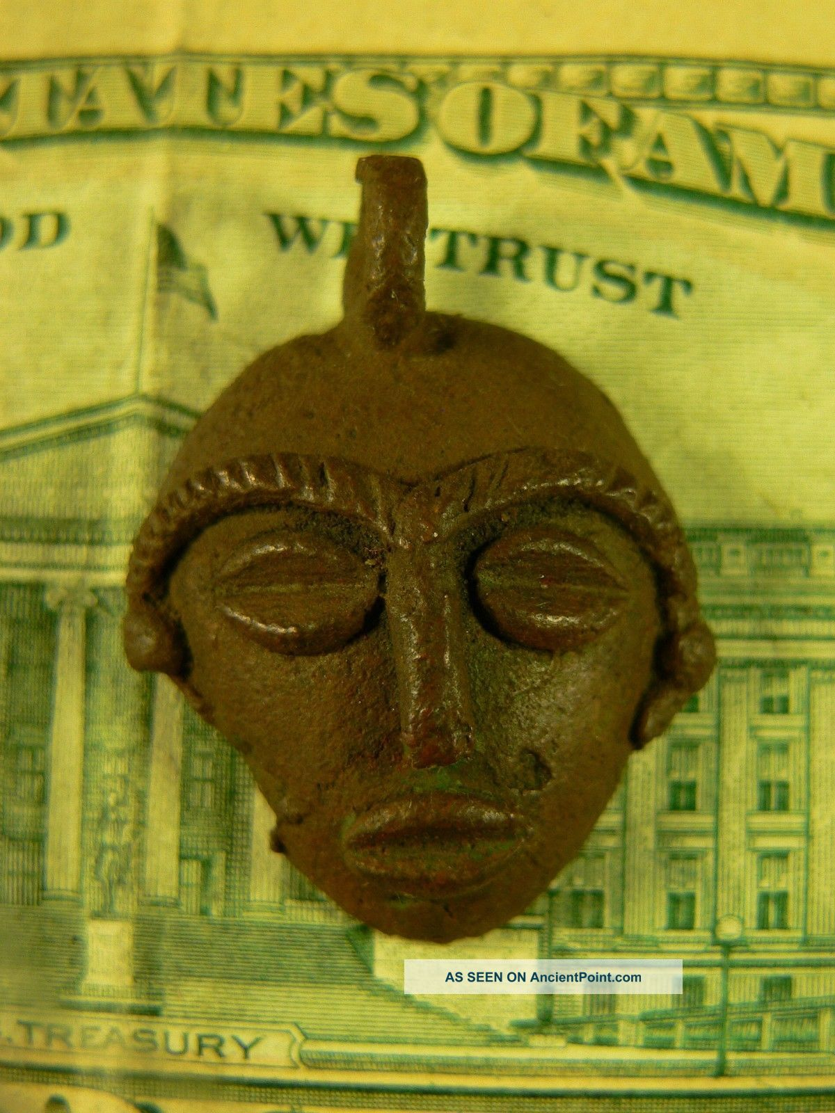 1800 ' S Bronze Dance Mask Trade Pendant All Hand Made Good Patina Very Old Native American photo