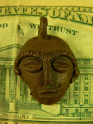 1800 ' S Bronze Dance Mask Trade Pendant All Hand Made Good Patina Very Old photo