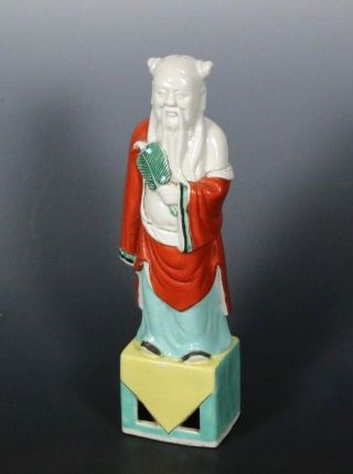 Chinese Antique Porcelain Statue Famille Rose Immortal Hand - Painted Statue photo