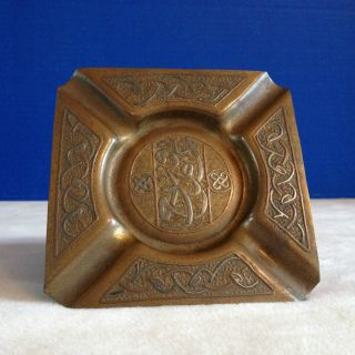 Vtg Antique Islamic Brass Bronze Ashtray Silver Copper Overlay Tray Mixed Metals photo