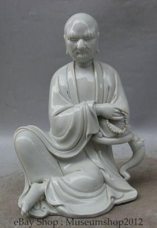 12 ' Chinese De Hua Porcelain Seat Arhat Damo Bodhidharma Dharma Buddha Statue photo