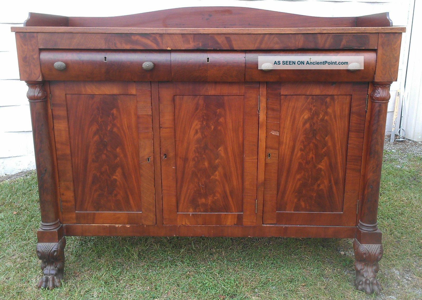 Picture of: Large Antique Empire Style Flame Mahogany Sideboard Buffet Columns Lion Feet