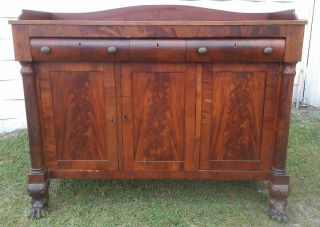 Large Antique Empire Style Flame Mahogany Sideboard Buffet Columns Lion Feet photo