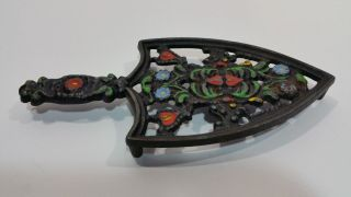Vintage Wilton Cast Iron Footed Trivet Red/green/blue/yellow Floral photo