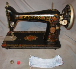 Serviced Antique 1919 Singer 66 Red Eye Treadle Sewing Machine Works See Video photo