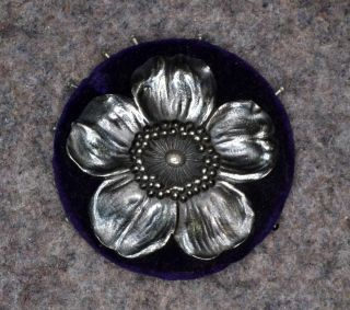 Sewing Pin Cushion Case Keeper Velvet Silver Dog Wood Blossom Antique 1800s photo