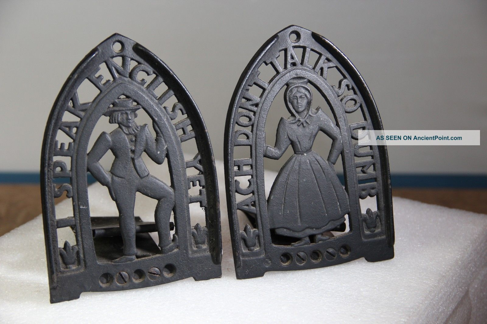 Vintage Sad Iron Trivets Or Bookends - Unusual Man & Woman Pair Trivets photo