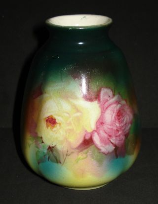 Antique Austrian Vase Bud Royal Bonn Style Pink Roses Transfer Austria Sale Mrk photo