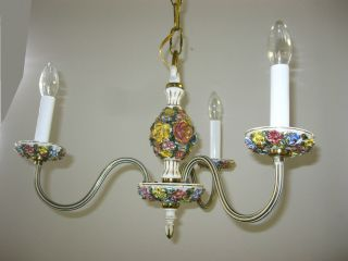 French Country Chandelier W 2 Sconces Chic Shabby Italian Tole Capodimonte Light photo