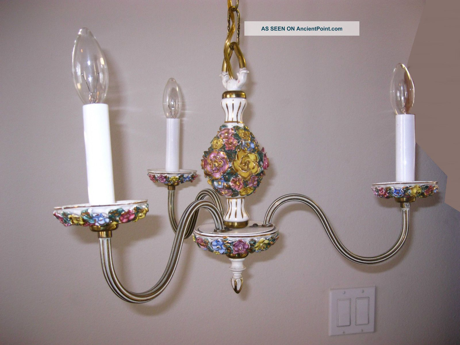 French Country Chandelier W 2 Sconces Chic Shabby Italian Tole