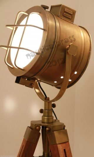 Antique Finish Floor Search Light Lamp With Tripod Floor Lamp Collectible Gift photo