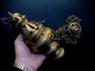 Antique Decorated Catholic Church Thurible Incense Burner,  18th Century Ad. photo