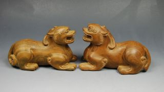 Chinese Green Sandalwood Wood Carved Pair Pi Xiu Size :5.  0 X 2.  0 X 3.  0 Inch 424g photo