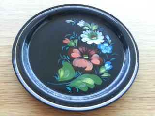 Vintage Russian Plate Hand Paint Enamel Flowers Russland Russie Ussr Great Gift photo