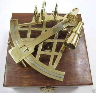 Brass Sextant With Wooden Case Nautical Collectible Prop Marine Reproduction photo