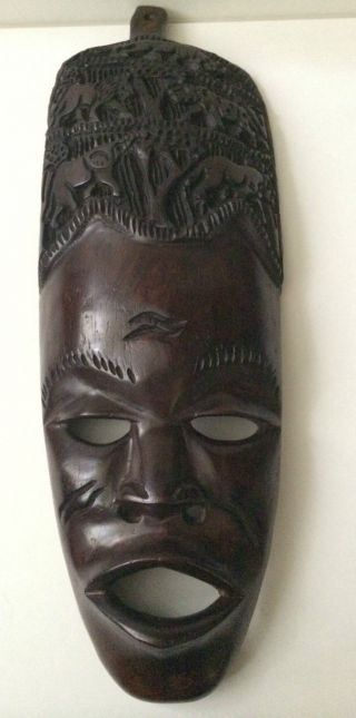 Hand Carved Solid Wood African Mask Ornament Tribal Wall Hanging photo