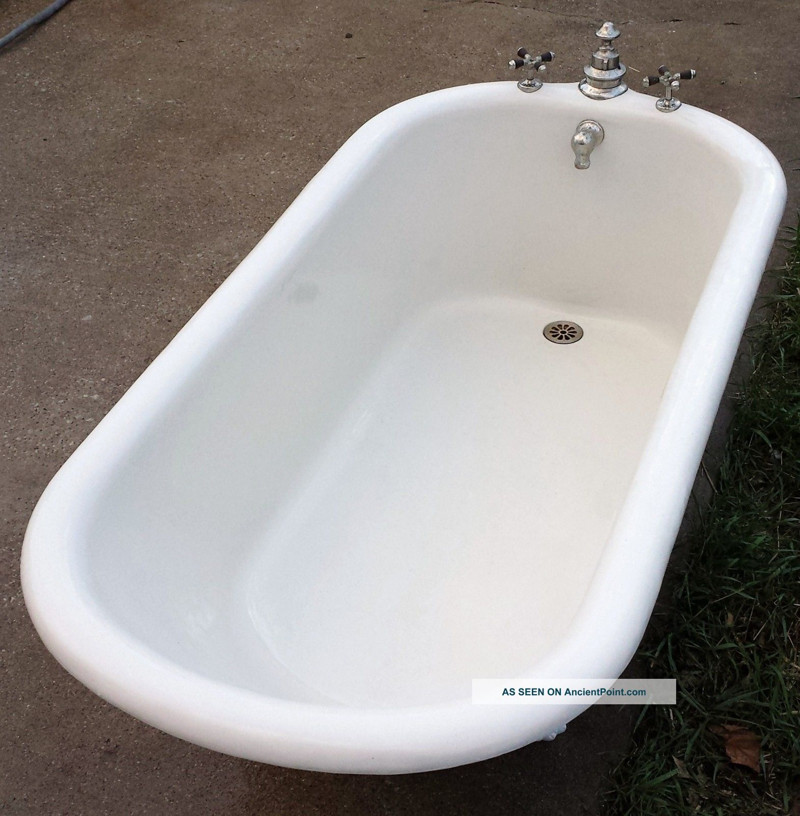 Antique Vintage Cast Iron Wolff Porcelain Tub Made In Usa On 7 1899
