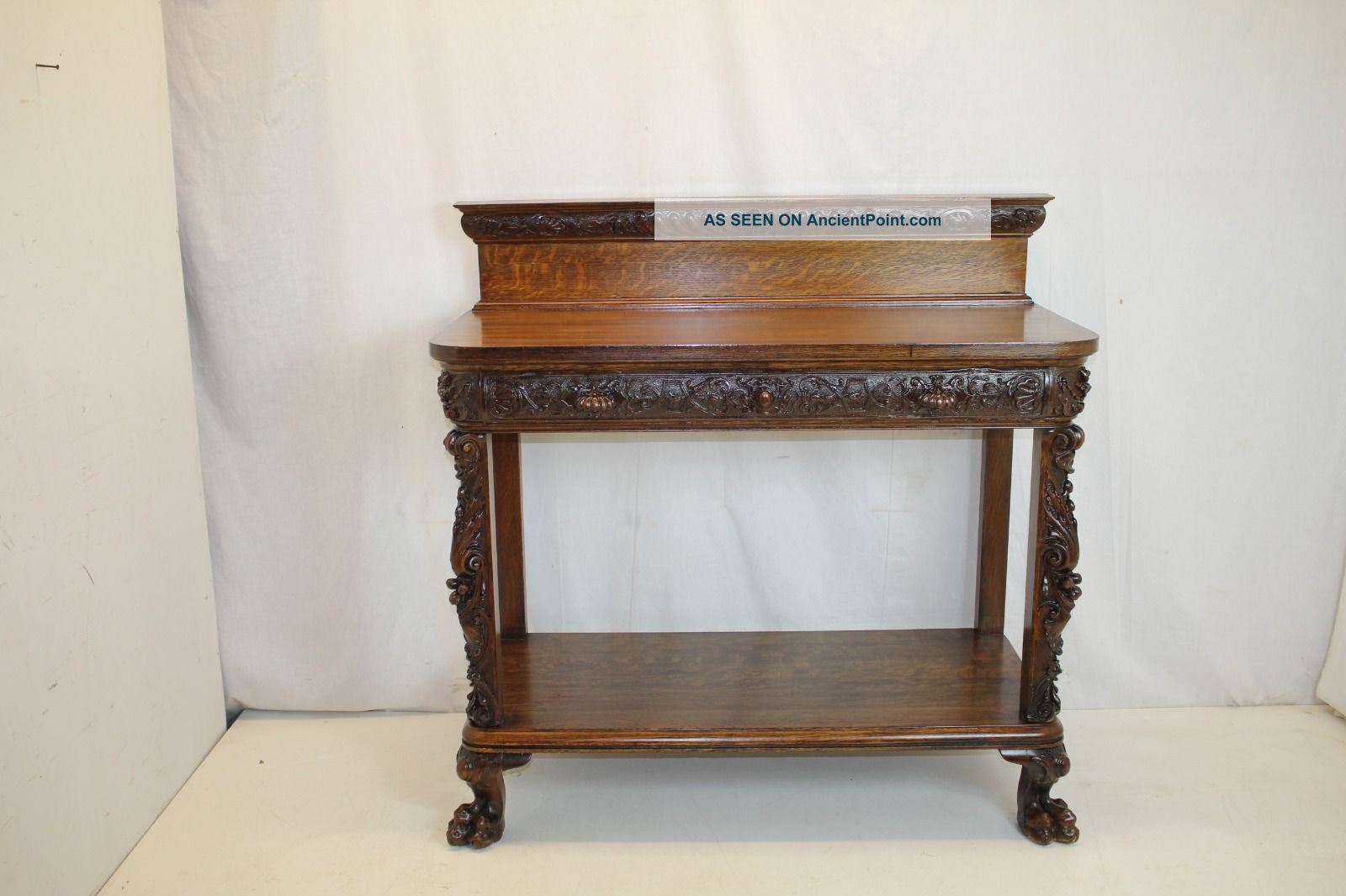 American Console Server Dump Waiter Buffet Sideborad Table With Full Drawer 19th 1800-1899 photo