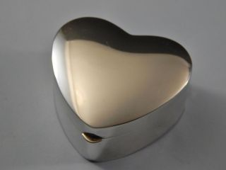 Sterling Silver Heart Shaped Hinged Jewelry Box Thomae Company No Monogram photo