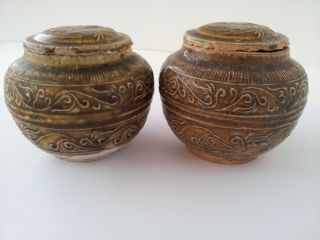Antique Hand Carved Small Chinese Lidded Jars photo