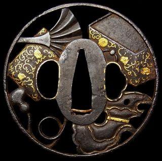 965 Rare Japanese Edo Antique Sukashi Tsuba Of Samurai Katana