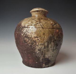 Exceedingly Rare Dated Japanese Shigaraki Tea Jar Edo 1864 Antique Stoneware photo