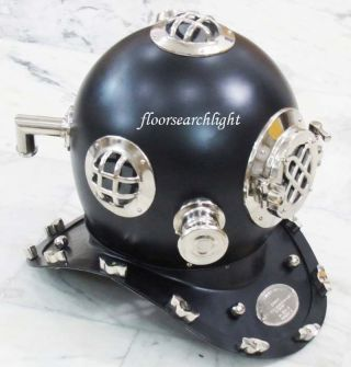 Collectible Nautical Steel Us Navy Divers Diving Helmet Black Powder Coated photo