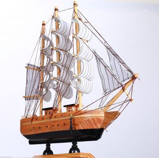 "11.  8"" Wooden Handcrafted Model Ship Beach Home Nautical Decor Sailboat C Marine photo"
