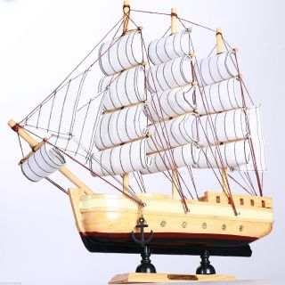 "11.  8"" Wooden Handcrafted Model Ship Marine Beach Home Nautical Decor Sailboat D photo"