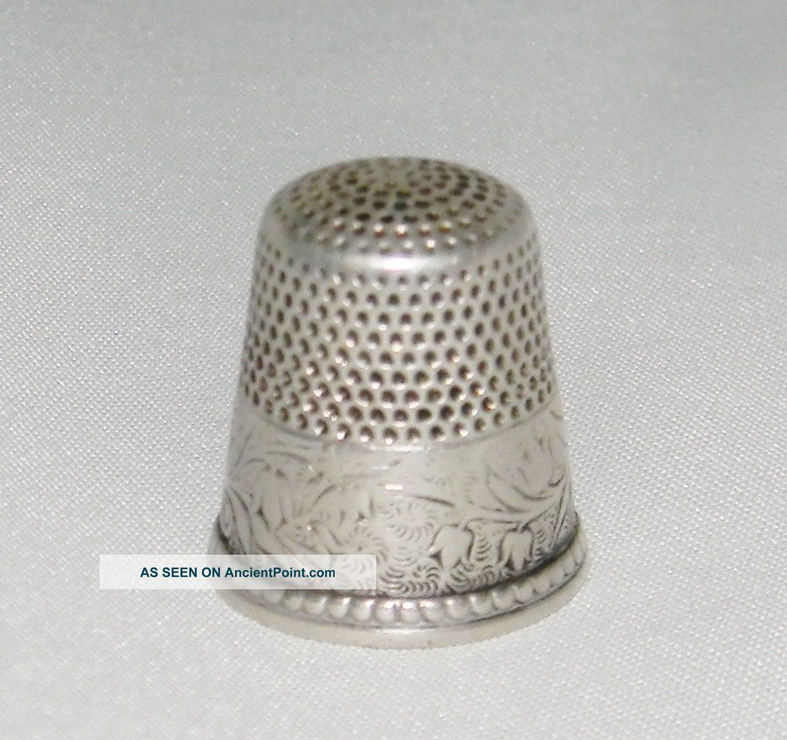 Antique Sterling Silver Ketcham & Mcdougall Lily Of The Valley Thimble C1900s Thimbles photo