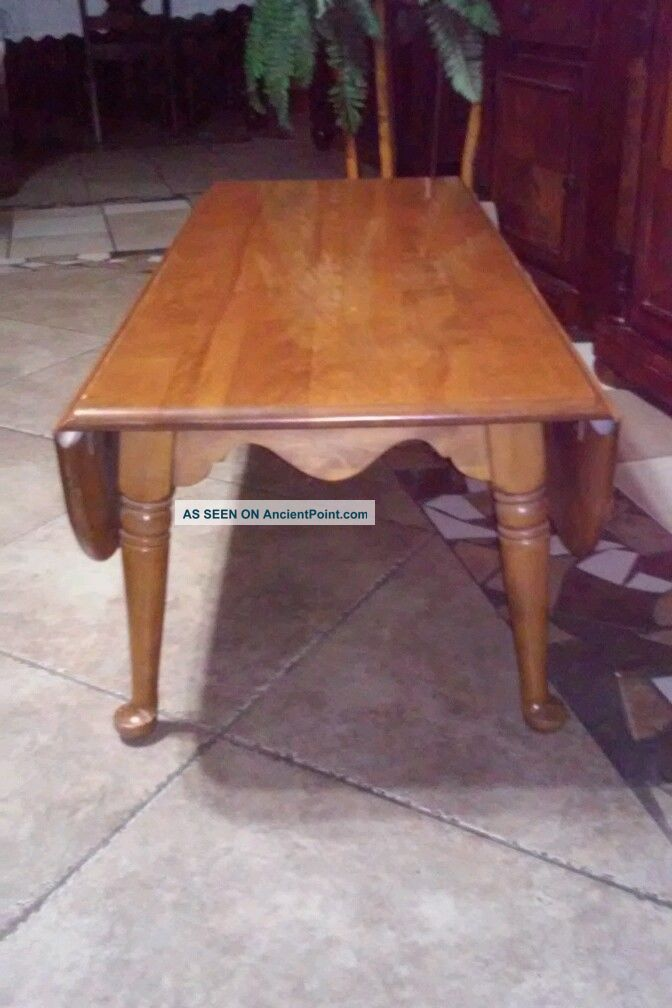 High End Used Furniture Ethan Allen Circa 1776 Maple 50 Oval Drop
