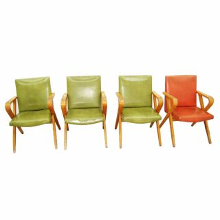 Set Of 4 Mid - Century Thonet Arm Chairs,  Vintage 1940 1420 photo