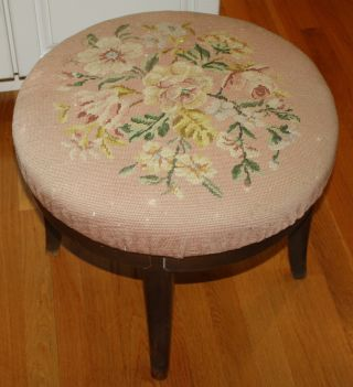 Large Round Needle Point Swivel Footstool photo
