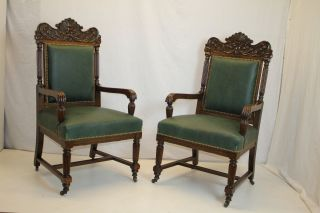 American Victorian Oak Large Carved Arm Chairs Covered In Leather C.  19th photo