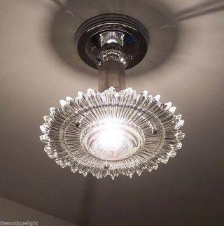 768 Vintage 30s 40s Starburst Art Deco Ceiling Lamp Light Fixture X - Treme photo