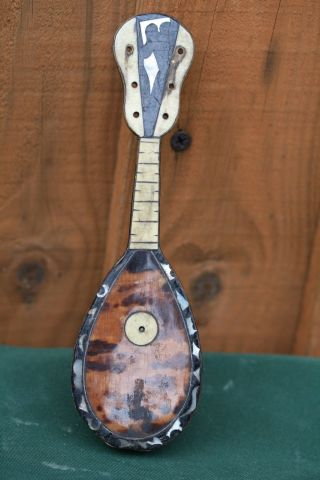 19thc Miniature Mandolin With Faux Tortoise Shell & Other Intricate Decoration photo