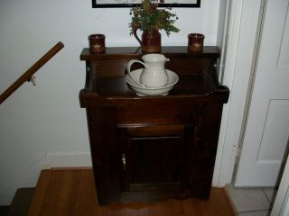 1950 ' S Rustic Primitive Antique Walnut Dry Sink / Wash Stand And Cabinet photo