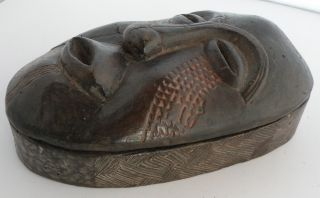 Unusual Old Kuba Tribe Carved Wood Box With Carved Face On Lid,  Congo,  Unique photo