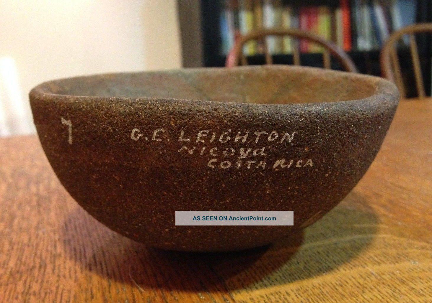 Gorgeous Clay Pottery Bowl Marked 7 G.  E.  Leighton Nicoya Costa Rica - 4 3/4