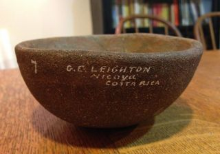 Gorgeous Clay Pottery Bowl Marked 7 G.  E.  Leighton Nicoya Costa Rica - 4 3/4