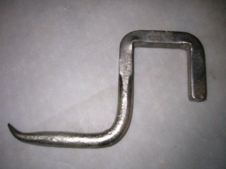 Antique Butcher Hook - Rare - Hand Forged Solid Steel - Mounts On Beam - Buffed Unusual photo