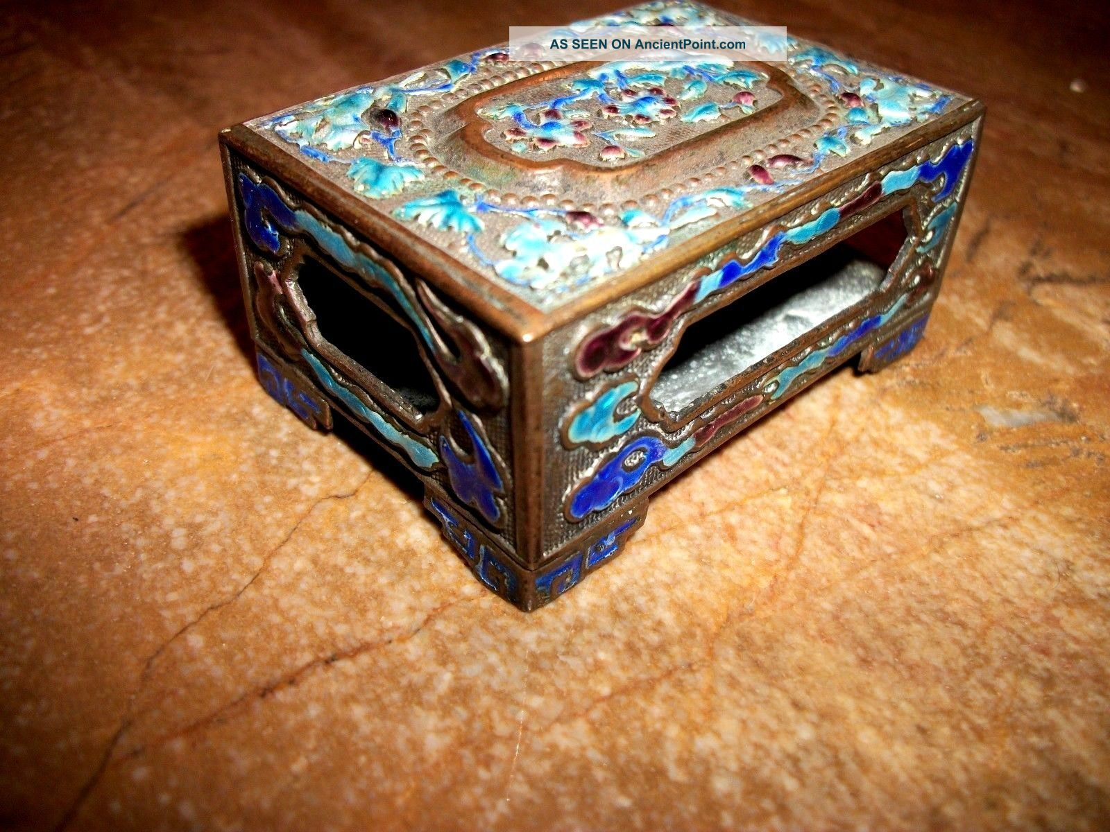 Chinese Vintage Cloisonne Match Holder Boxes photo