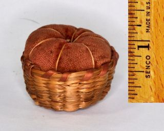 Pin Cushion Sweet Grass Basket Native American Miniature 1.  25 In.  Antique Sewing photo